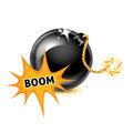 Bomb with exploding boom sign on white background Stock Photo