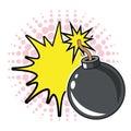 Bomb explosion bubble pop art design dotted
