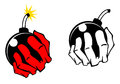 Bomb in people hand vector cartoon image Royalty Free Stock Images