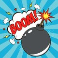 Bomb in pop art style and comic speech bubble with text - BOOM. Cartoon dynamite at background with dots halftone and sunburst.