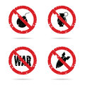 Bomb weapon red sign set illustration