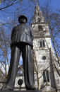 Bomber Harris Statue and St Clement Danes Church Royalty Free Stock Photo