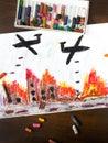 Bombing raid Royalty Free Stock Photo