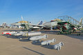 Bombs and missile armament for aviation zhukovsky russia aug the samples of aircraft at the international space salon Royalty Free Stock Images