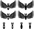 Bombs with wings stencils first variant vector illustration Royalty Free Stock Photo