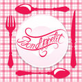 Bon appetit calligraphic text on plate with fork knife and spoon design for cafe or restaurant menu cover in pink colors Stock Photo