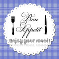 Bon appetit colorful menu design with fork knife and the text written in the middle of the image Stock Photo