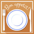 Bon appetit flat icon with cutlety white plate blue border and cutlery in style menu design vector illustration Stock Photo