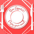 Bon appetit flat icon with cutlety