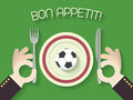Bon appetit football or soccer concept illustration with ball on plate vector Royalty Free Stock Photography