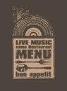 Bon appetit retro menu for a restaurant with live music Stock Images