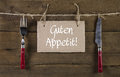 Bon appetite or enjoy your meal in german language. Advertising Royalty Free Stock Photo