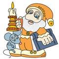 Bon gnome avec un livre, une souris et une bougie. Photographie stock