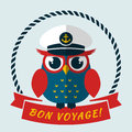Bon voyage vector card with owl pretty captain illustration Royalty Free Stock Photo