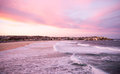 Bondi beach at dusk scenic view of in sydney australia Royalty Free Stock Images
