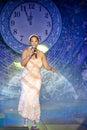 Boney m sheila bonnick bonnichk sings on stage Royalty Free Stock Photos