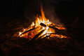 Bonfire by the beach at night Stock Images