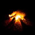 Bonfire blaze of catching on black background Stock Image
