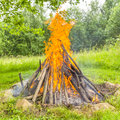 Bonfire burning in the village camping in village rybie poland Stock Photography