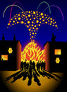 Bonfire and fireworks party Royalty Free Stock Images