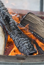 Bonfire logs burring at the rochester winter fest in michigan warm fire Royalty Free Stock Photos