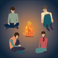 Bonfire night, young people art abstract creative modern vector illustration