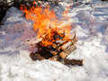 Bonfire on snow a log in the Stock Photos
