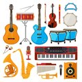 Bongo, drums, guitar and other musical instruments. Vector illustrations in cartoon style Royalty Free Stock Photo