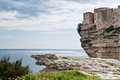 Bonifacio corsica houses of the medieval citadel on the steep cliffs of Royalty Free Stock Photo