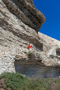 Bonifacio path corsica france white clifs in Stock Photography