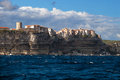 Bonifacio the village on the rocks corsica france high and wild sea Royalty Free Stock Image