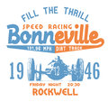 Bonneville speed racing vintage graphic print poster and more Stock Photography