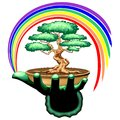 Bonsai Tree and Rainbow on Green Hand