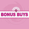 Bonus buys logo pink background with swirl and diamond gem accent can be used in fliers and catalogs Royalty Free Stock Photography