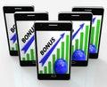 Bonus graph phone shows incentives rewards and premiums showing Stock Photos