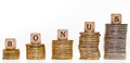 Bonus stack of coins and wood dice with the word Royalty Free Stock Images