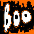 Boo happy halloween card comic style party invitation Stock Image