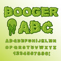 Booger ABC. Green slime letters. Snot font. Snivel alphabet. Slippery lettering. Mucus typography