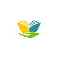 Book abstract hand education logo