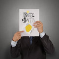 Book of big data as concept businessman hand show Stock Photos