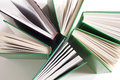 Book bindings and pages shot from above Royalty Free Stock Photography