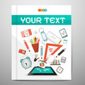Book brochure leaflet layout with school items learn and study management vector illustration Royalty Free Stock Photos