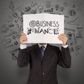Book of business finance as concept businessman hand show Royalty Free Stock Photo
