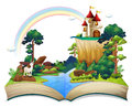 A book with a castle at the forest illustration of on white background Stock Photo