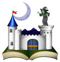 A book with a castle and a witch illustration of on white background Royalty Free Stock Images