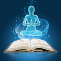 Book of concentration open with growth light sitting man in mode Stock Photography