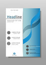 Book cover design in blue. Journals, reports, conferences. Vector
