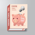 Book cover design template business piggy bank concept can be used for e e magazine vector illustration Royalty Free Stock Photos