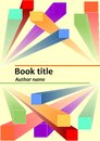Book cover template with abstract prismatic 3d colorful elements. Descriptive geometry shapes in space. Useful as leaflet, poster, Royalty Free Stock Photo
