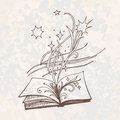 The book is fantasy. Sketch style vector illustration. Old hand drawn engraving imitation.